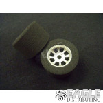 1/8 x 27mm x 18mm Silver Nascar Rear Wheels w/Nat. Foam Tires