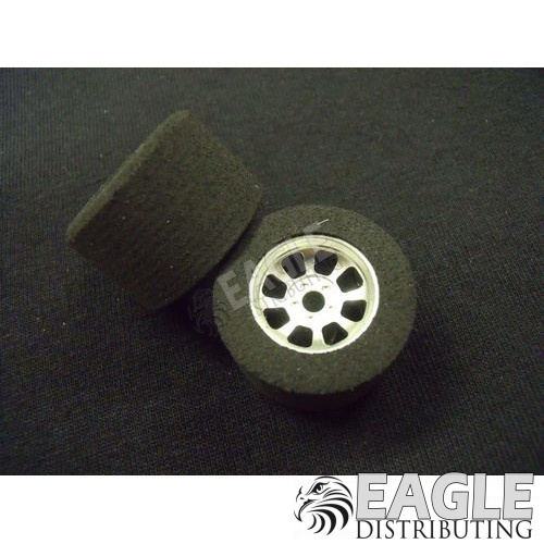 1/8 x 27mm x 18mm Silver Nascar Rear Wheels w/Nat. Foam Tires-HR1103