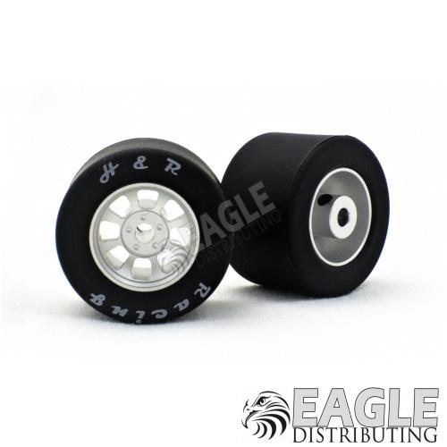 1/8 x 27mm x 18mm Silver Nascar Rear Wheels w/Silicone Tires-HR1108