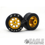 1/8 x 27mm x 12mm Gold Nascar Front Wheels w/Rubber Tires