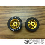 1/8 x 27mm x 12mm Gold Nascar Front Wheels w/Silicone Tires