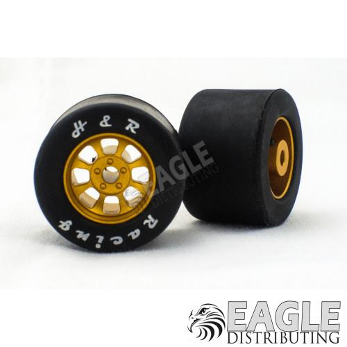 1/8 x 27mm x 18mm Gold Nascar Rear Wheels w/Rubber Tires-HR1115