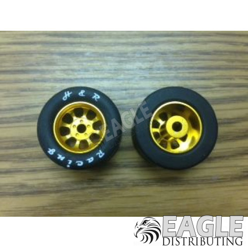 1/8 x 27mm x 18mm Gold Nascar Rear Wheels w/Silicone Tires-HR1116