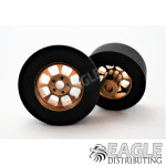 1/8 x 27mm x 12mm Gold Nascar Front Wheels w/Foam Tires