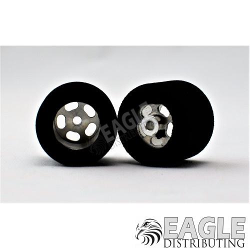 1/8 x 27mm x 21mm Silver 5-Slot Rear Wheels w/Hard Foam Tires-HR1207