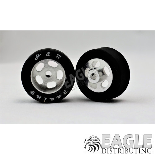 1/8 x 27mm x 12mm Silver 5-Slot Front Wheels w/Rubber Tires-HR1301