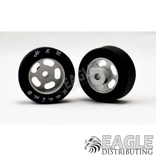 1/8 x 27mm x 12mm Silver 5-Slot Front Wheels w/Silicone Tires-HR1302