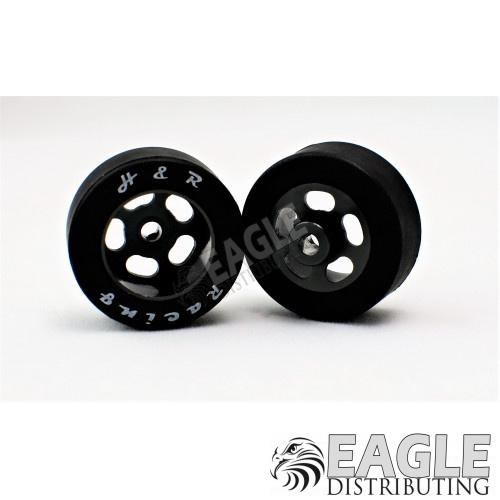 1/8 x 27mm x 12mm Black 5-Slot Front Wheels w/Rubber Tires-HR1305