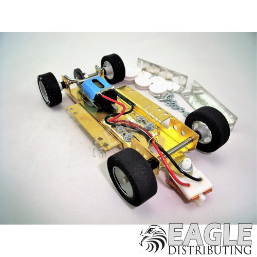 H&R 1/24 scale adjustable slot car chassis, Silicon tires, 18K Motor