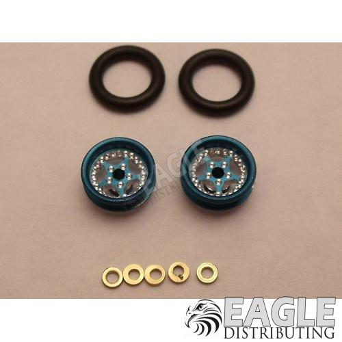 Star Series Wheelie bar wheels, 3/8, Blue Anodized