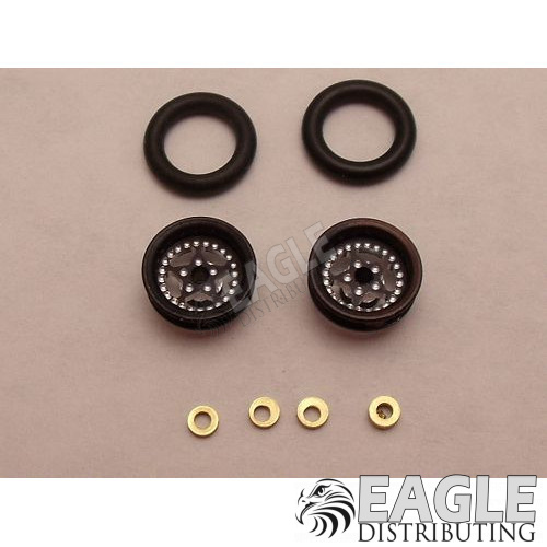 Star Series Wheelie bar wheels, 3/8, Black