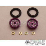 .050 x 3/8 x 1/16 Purple Star Wheelie Wheel Kit