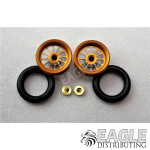 3/8 x 1/16 Gold Turbine Wheelie Wheels