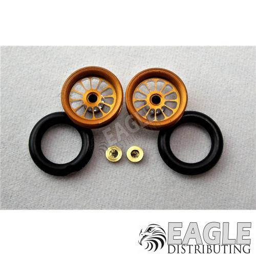 3/8 x 1/16 Gold Turbine Wheelie Wheels