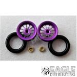 .050 x 3/8 x 1/16 Purple Turbine Wheelie Wheel Kit