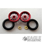 .050 x 3/8 x 1/16 Red Turbine Wheelie Wheel Kit