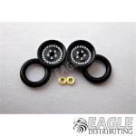 .050 x 3/8 x 1/16 Black Classic Wheelie Wheel Kit