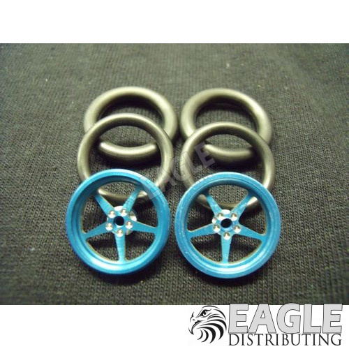 Pro Star Series CNC Drag Front Wheels, 3/4 O-Ring, Blue