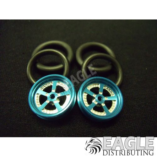 Evolution Series CNC Drag Front Wheels, 3/4 O-Ring, Blue