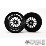 3/32 x 1 1/16 x .300 Black Turbine Drag Rear Wheels with Nat. Rubber Tires
