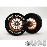 3/32 x 1 1/16 x .300 Gold Turbine Drag Rear Wheels with Nat. Rubber Tires
